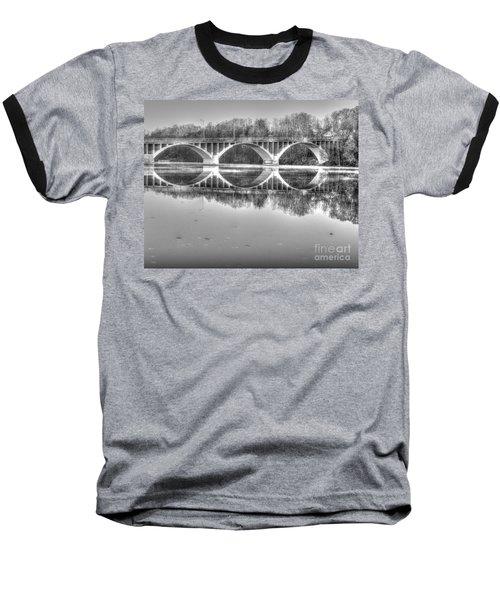 Autumn Bridge Reflections In Black And White Baseball T-Shirt