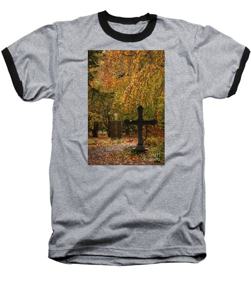 Baseball T-Shirt featuring the photograph Autumn Cemetary by Inge Riis McDonald