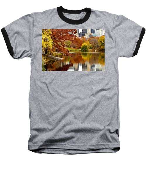 Autumn Colors In Central Park New York City Baseball T-Shirt