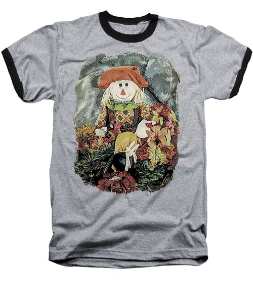 Autumn Country Scarecrow Baseball T-Shirt by Kathy Kelly