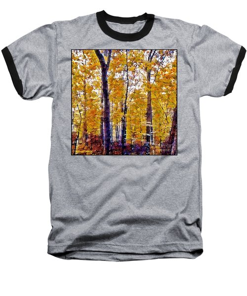 Autumn  Day In The Woods Baseball T-Shirt by MaryLee Parker