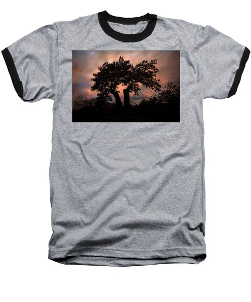Baseball T-Shirt featuring the photograph Autumn Evening Sunset Silhouette by Chris Lord