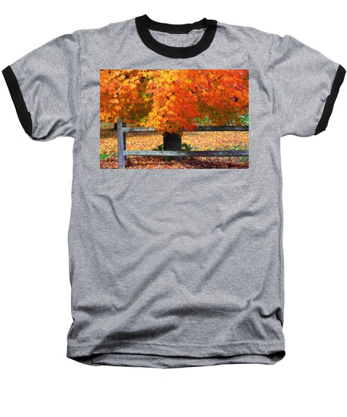 Autumn Fence Baseball T-Shirt