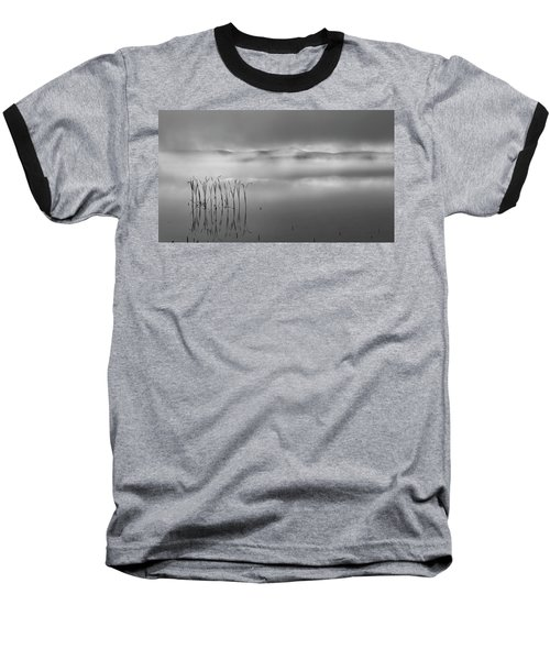 Baseball T-Shirt featuring the photograph Autumn Fog Black And White by Bill Wakeley