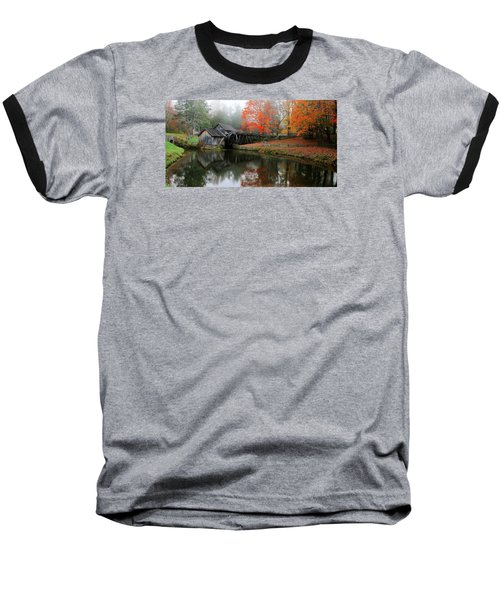 Autumn Foggy Morning At Mabry Mill Virginia  Baseball T-Shirt