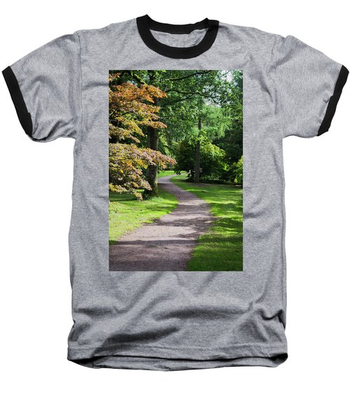 Autumn Forest Path Baseball T-Shirt by Scott Lyons