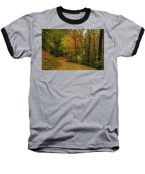 Autumn Forest Road. Baseball T-Shirt