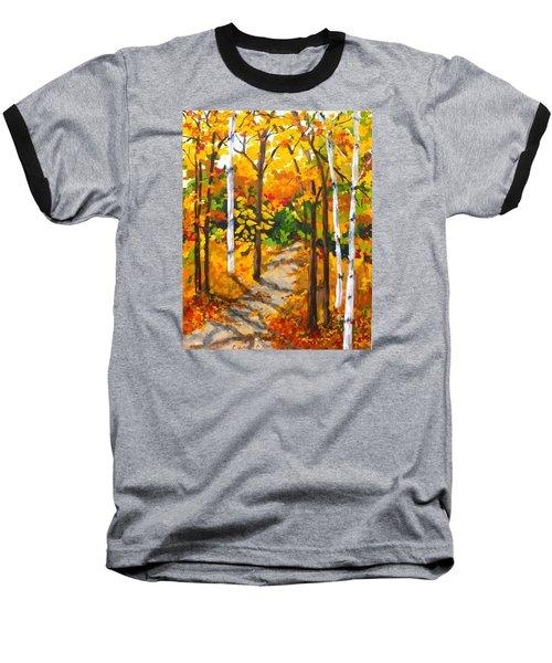Autumn Forest Trail Baseball T-Shirt by Diane Arlitt