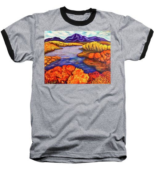 Baseball T-Shirt featuring the painting Autumn Hues by Rae Chichilnitsky