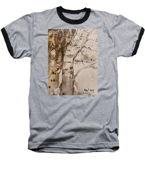 Autumn Human Face Tree Baseball T-Shirt by AmaS Art