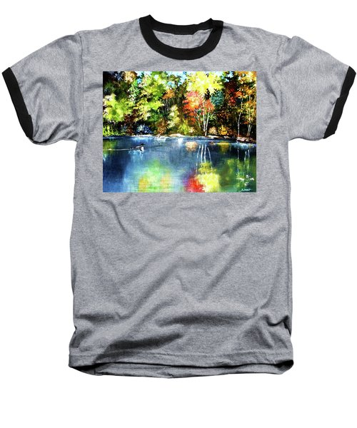 Autumn In Loon Country Baseball T-Shirt by Al Brown