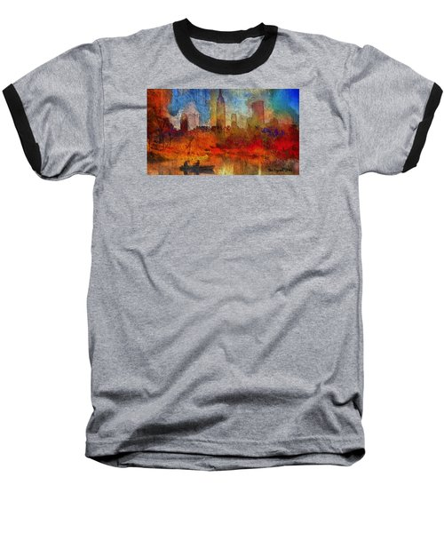 Baseball T-Shirt featuring the painting Autumn In New York by Ted Azriel