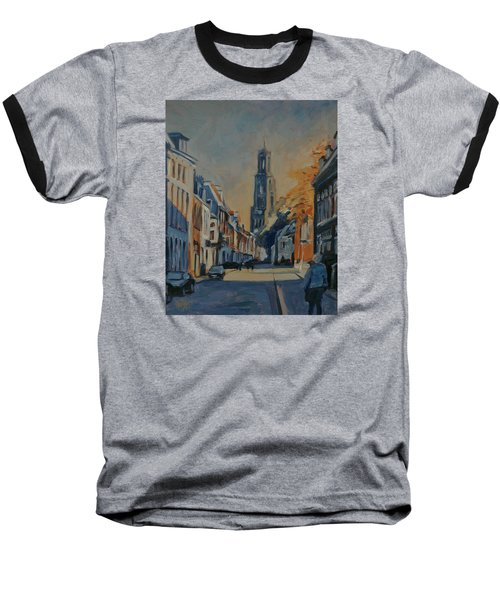 Baseball T-Shirt featuring the painting Autumn In The Lange Nieuwstraat Utrecht by Nop Briex