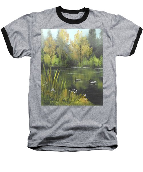 Autumn In The Park Baseball T-Shirt by Angela Stout