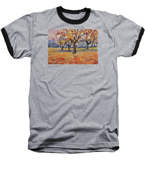 Baseball T-Shirt featuring the painting Autumn In The Villa Park Maastricht by Nop Briex