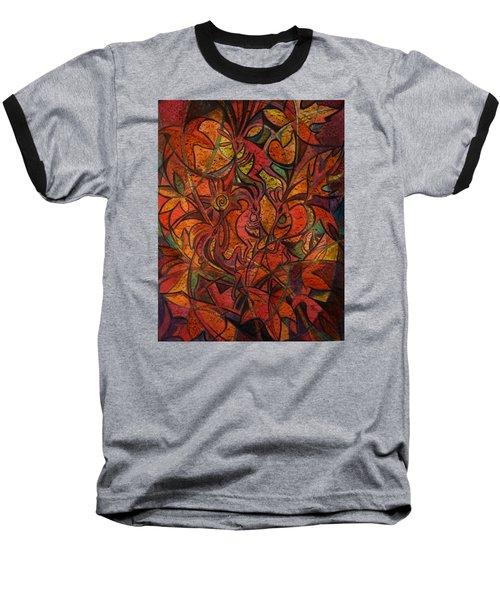 Autumn Kokopelli Baseball T-Shirt by Anna Duyunova