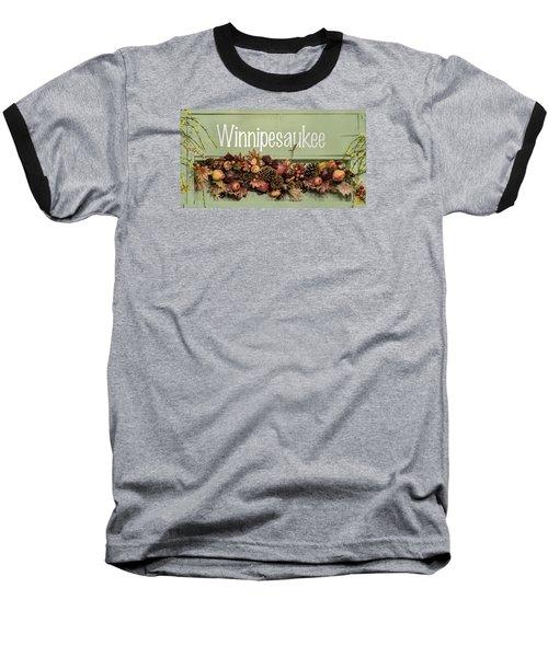 Baseball T-Shirt featuring the photograph Autumn Lake Winnipesaukee Sign Fall by Betty Denise