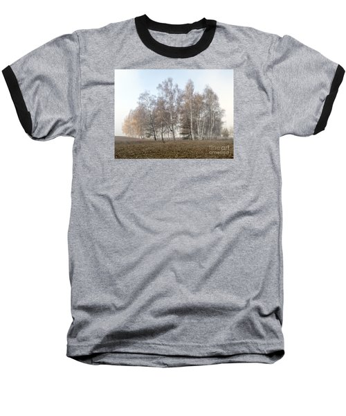 Autumn Landscape In A Birch Forest With Fog Baseball T-Shirt by Odon Czintos