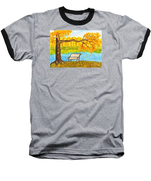 Autumn Landscape With Tree And Bench, Painting Baseball T-Shirt