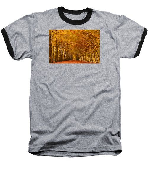 Autumn Lane In An Orange Forest Baseball T-Shirt by IPics Photography