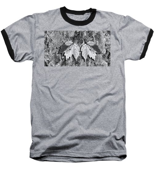Autumn Leaf Abstract In Black And White Baseball T-Shirt