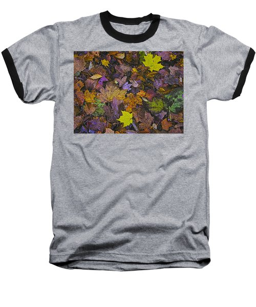 Autumn Leaves At Side Of Road Baseball T-Shirt by John Hansen