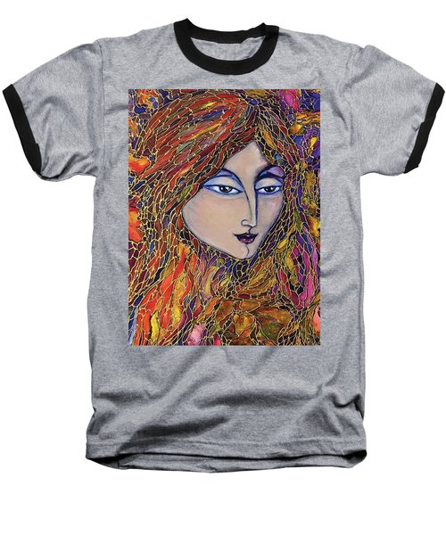 Baseball T-Shirt featuring the painting Autumn Leaves by Rae Chichilnitsky