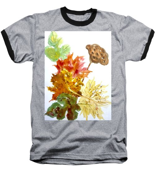 Autumn Leaves Still Life Baseball T-Shirt by Ellen Levinson