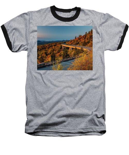 Morning Sun Light - Autumn Linn Cove Viaduct Fall Foliage Baseball T-Shirt