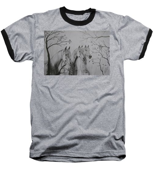 Baseball T-Shirt featuring the drawing Autumn by Melita Safran