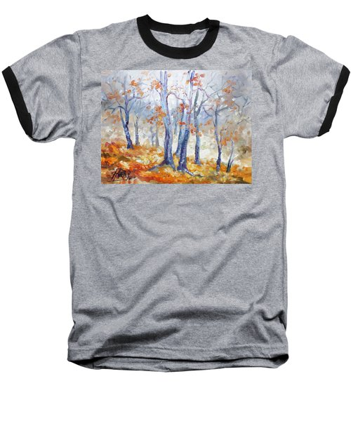 Autumn Mist - Morning Baseball T-Shirt by Irek Szelag