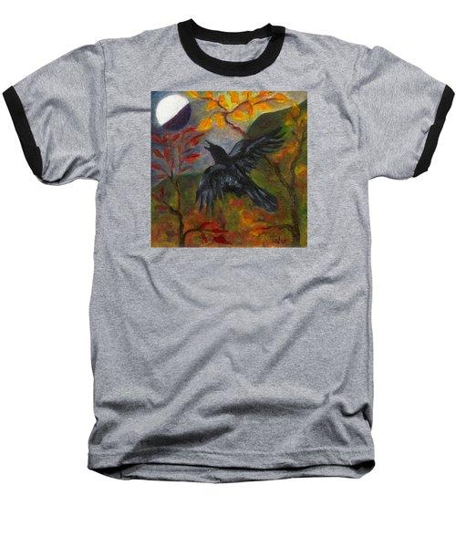 Autumn Moon Raven Baseball T-Shirt by FT McKinstry