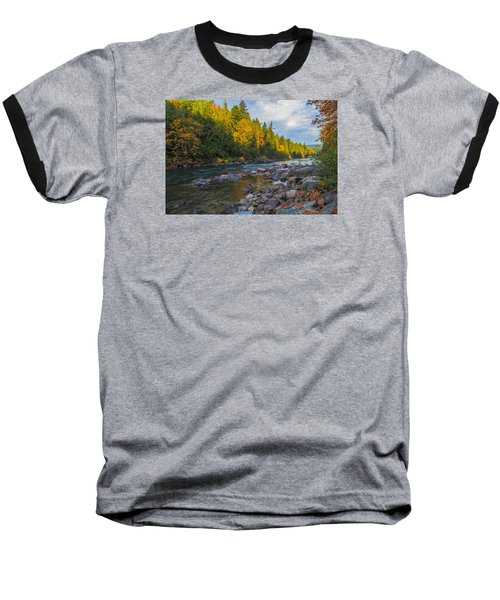 Baseball T-Shirt featuring the photograph Autumn Morning Light On The Snoqualmie by Ken Stanback