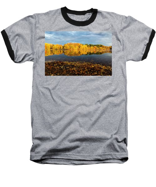 Autumn Morning Reflection On Lake Pentucket Baseball T-Shirt by Betty Denise
