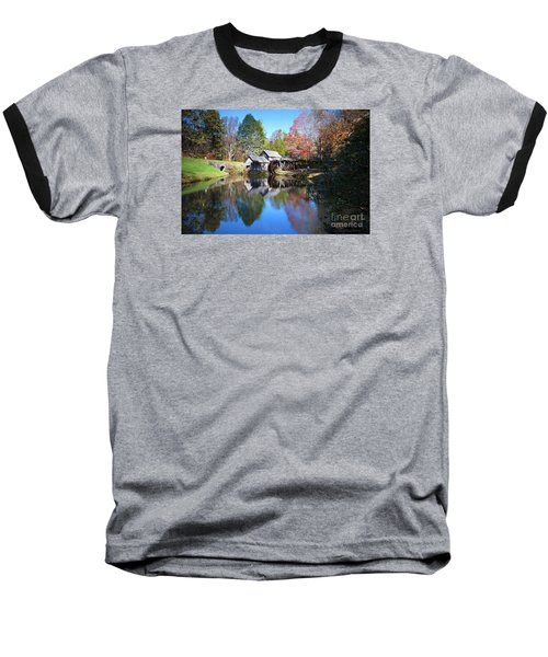 Autumn On The Blue Ridge Parkway At Mabry Mill Baseball T-Shirt by Nature Scapes Fine Art