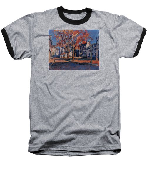 Baseball T-Shirt featuring the painting Autumn On The Square Of Our Lady Maastricht by Nop Briex