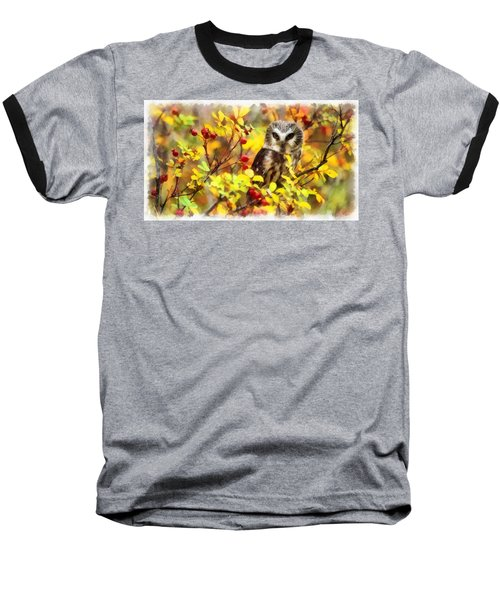 Autumn Owl Baseball T-Shirt