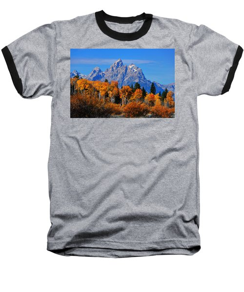 Autumn Peak Beneath The Peaks Baseball T-Shirt by Greg Norrell