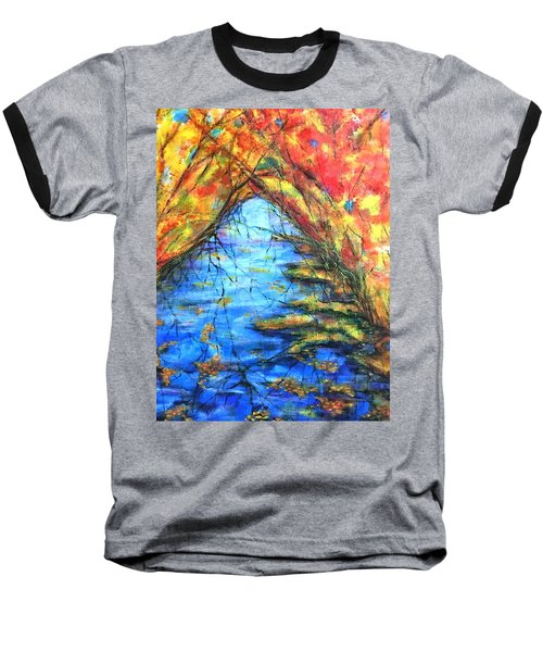 Baseball T-Shirt featuring the painting Autumn Reflections 2 by Rae Chichilnitsky