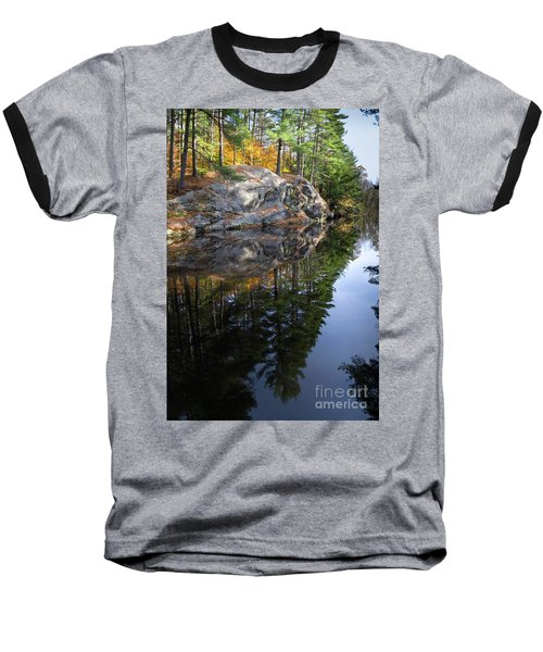 Autumn Reflections At Runaround Pond In Durham Maine  -20224 Baseball T-Shirt