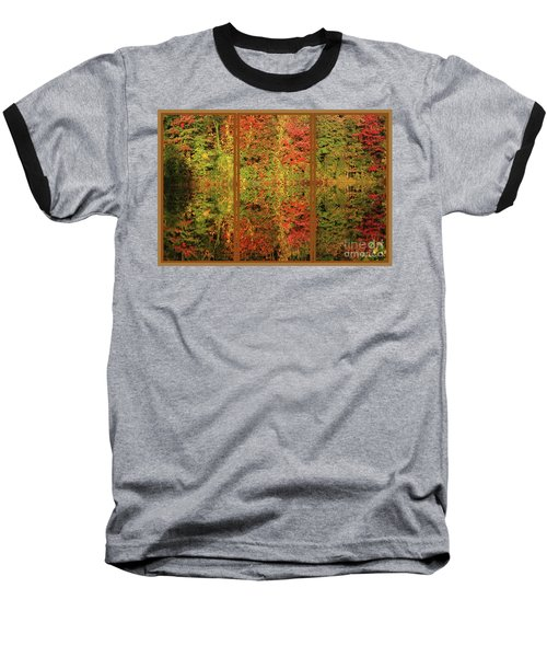 Baseball T-Shirt featuring the photograph Autumn Reflections In A Window by Smilin Eyes  Treasures