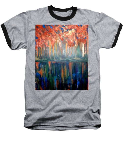 Baseball T-Shirt featuring the painting Autumn Reflections by Rae Chichilnitsky