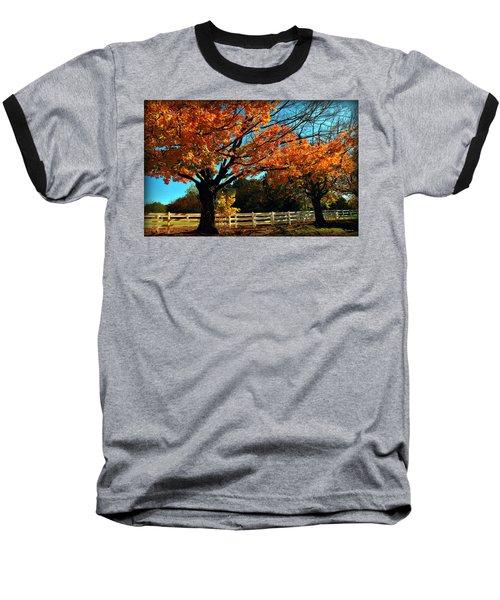 Baseball T-Shirt featuring the photograph Autumn Rows by Joan  Minchak