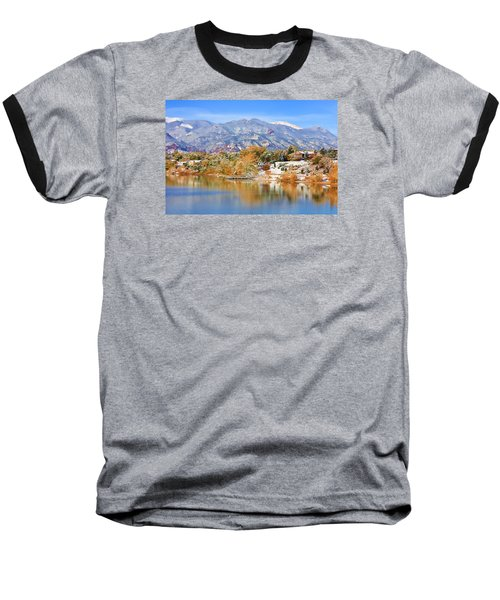 Autumn Snow At The Lake Baseball T-Shirt by Diane Alexander