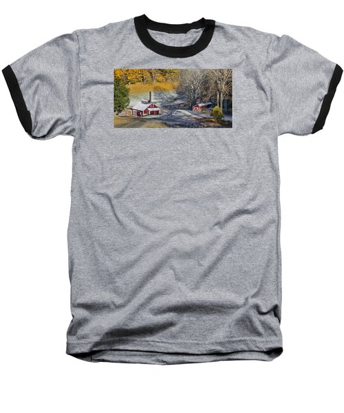 Baseball T-Shirt featuring the photograph Autumn Snow On Sugar Shack, Reading, Vt by Betty Denise