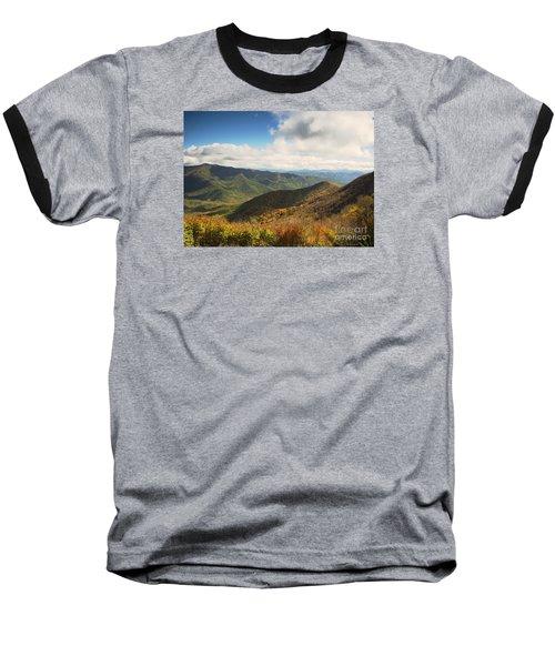 Autumn Storm Clouds Blue Ridge Parkway Baseball T-Shirt by Nature Scapes Fine Art