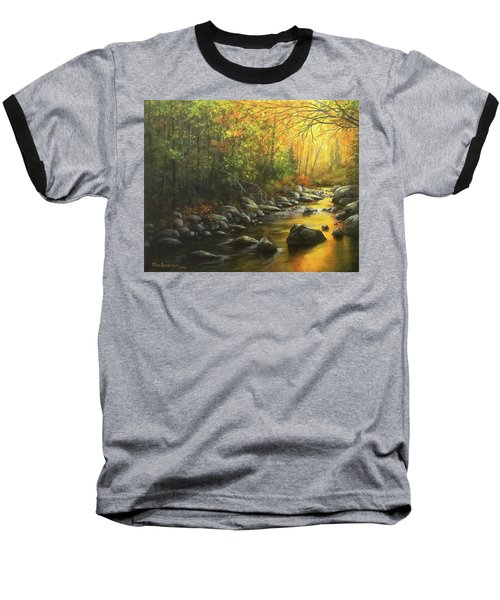 Autumn Stream Baseball T-Shirt by Kim Lockman