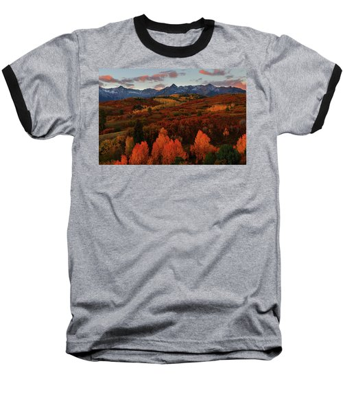 Autumn Sunrise At Dallas Divide In Colorado Baseball T-Shirt