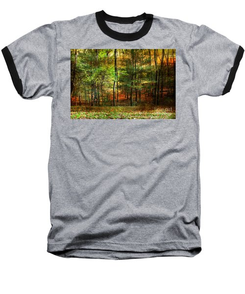 Autumn Sunset - In The Woods Baseball T-Shirt by Judy Palkimas