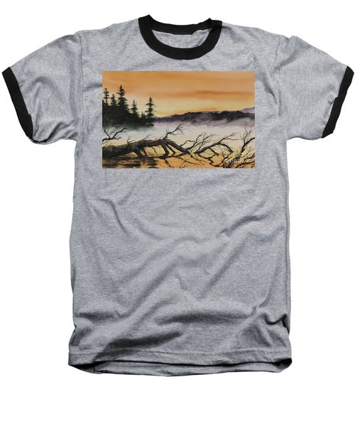 Baseball T-Shirt featuring the painting Autumn Sunset Mist by James Williamson